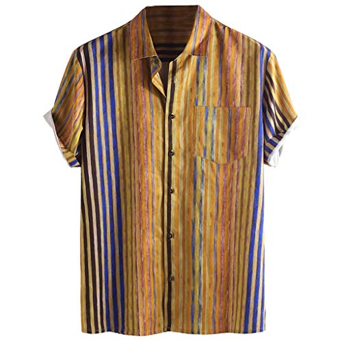 Mens prime Males's Colourful Stripe Shirts Summer time Brief Sleeve Informal Free Buttons Tee (2XL, Khaki)