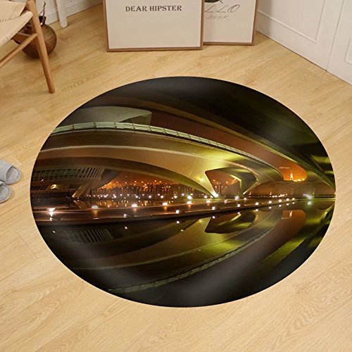 Gzhihine Custom round floor mat Image of Beautifully Lit Bridges at Night Valencia Spain by Gzhihine