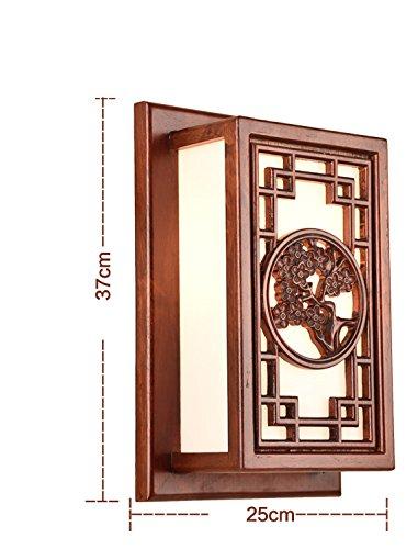 Moderne chinesische Massivholz Wandleuchte Nachttischlampe Antike Balkon Wohnzimmer Schlafzimmer Lampen Neue chinesische Stil Wandleuchte geschnitzt Nachttischlampe (Farbe    1)