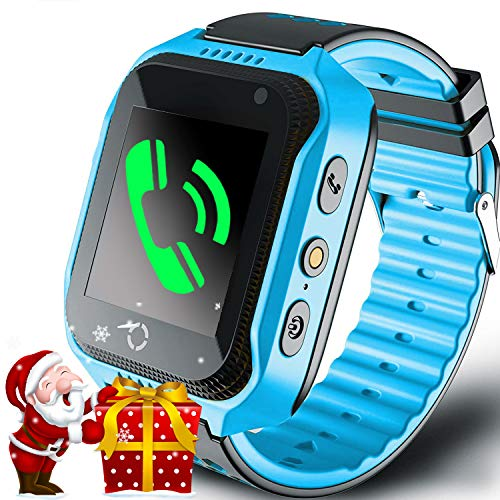 Kids Smart Watch Phone GPS Tracker for Girls Boys Touch Screen Fitness Tracker with Camera Anti-Lost SOS Game Electronic Learning Toy for Christmas Birthday Gifts (GPS-Blue)