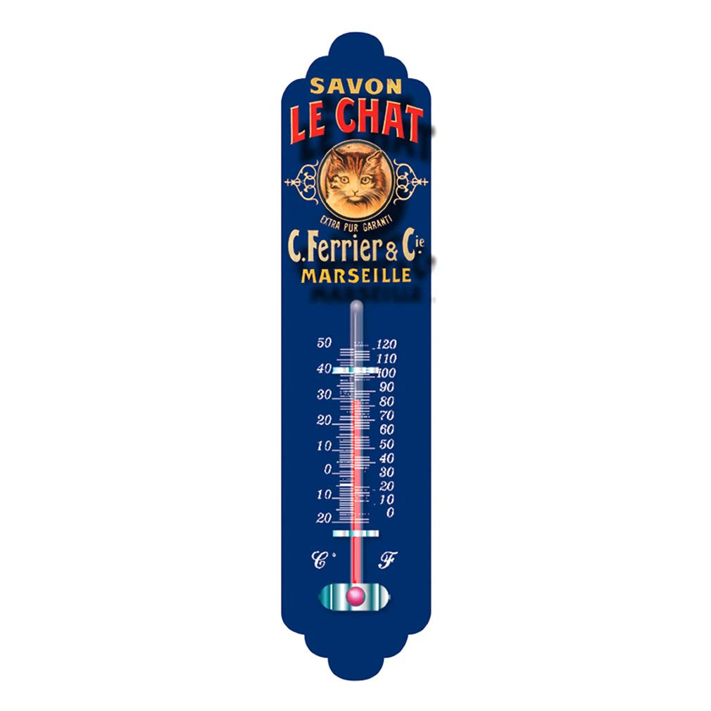 Souvenirs of France - 'Le Chat Soap' Metal Wall Thermometer - Blue