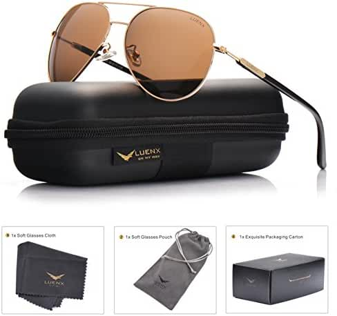 LUENX Aviator Sunglasses Polarized for Men Women with Sun Glasses Case - UV 400