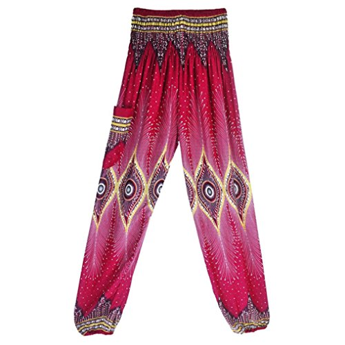 Men Women Thai Harem Training Trousers Boho Festival Hippy Smock High Waist Yoga Capris Pants (Hot Pink, Free Size) ()