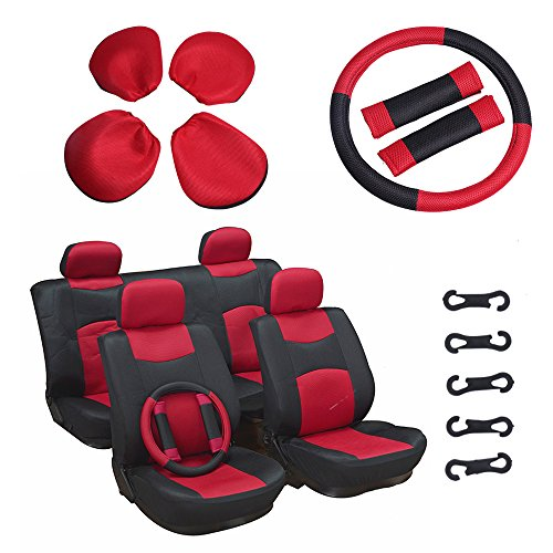 ECCPP Universal Car Seat Cover w/Headrest/Steering Wheel/Shoulder Pads - 100% Breathable Mesh Cloth Stretchy Durable for Most Cars Trucks Vans(Red/Black) by ECCPP (Image #9)