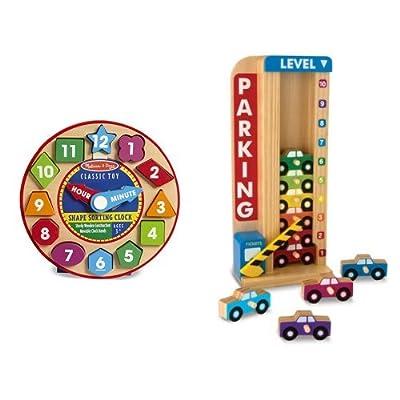 Melissa & Doug Shape Sorting Clock & Parking Garage Bundle: Toys & Games