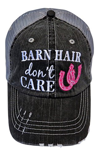Embroidered Barn Hair Don't Care Distressed Look Grey Trucker Cap Hat Farm (Hot Pink Horseshoe)