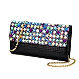 Clutch Bag-Shiningwaner Evening Bag-Envelope Bag With Rhinestones-Shoulder Chain Bag-Wedding Party Bag