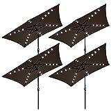 Yescom 10×6.5 ft Rectangle Outdoor Patio Aluminium Umbrella Solar Powered Led Light Crank Tilt Chocolate(Pack of 4)