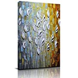 Home Decor Canvas Wall Art Painting, Abstract White Floral Prints, Morden Artwork Framed for Living Room Wall Decorations Ready to Hang 12'x18'