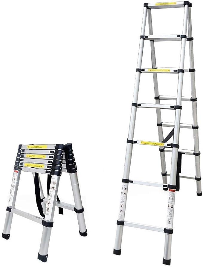 ALYR Aluminio Escalera Telescópica, Telescópica Escalera Extensible Escaleras de Mano con estabilizador Capacidad de Carga 150kg / 330lb para Industrial diarias del hogar o de Emergencia,4.4m/14.44ft: Amazon.es: Hogar
