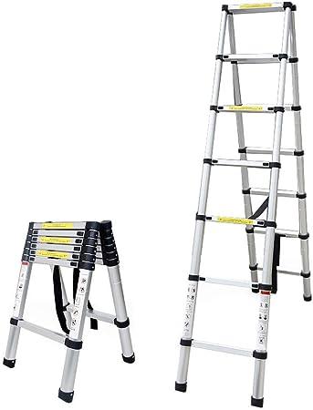 ALYR Aluminio Escalera Telescópica, Telescópica Escalera Extensible Escaleras de Mano con estabilizador Capacidad de Carga 150kg / 330lb para Industrial diarias del hogar o de Emergencia,2.6m/8.53ft: Amazon.es: Hogar
