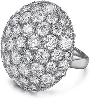 Serend Austrian Crystal Disco Ball Party Cocktail Rings Large 18k Rose Gold Plated, Size 7, 8, 9