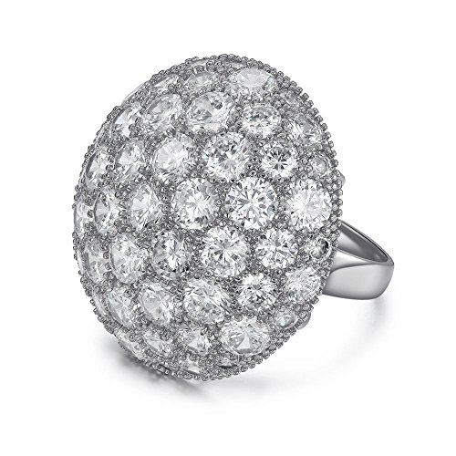 Serend Austrian Crystal 18k White Gold Plated Disco Ball Party Cocktail Rings Large, Size - Cards Returning Gift