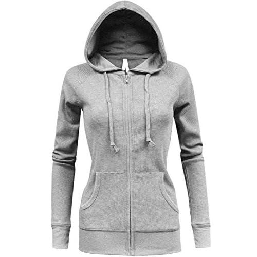 Hot BEKDO Womens Solid Lightweight Mirco Waffle Thermal Zip Up Hoodie Jacket