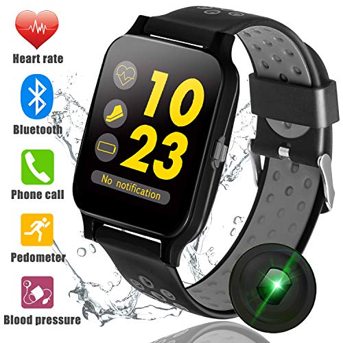 "1.5"" Bluetooth Sport Watch Fitness Tracker for Men Women Blood Pressure Heart Rate Monitor Run Pedomter Touch Screen, Smart Watch with Wristband Phone Call & SMS Remind Music Play Camera iOS Android For Sale"