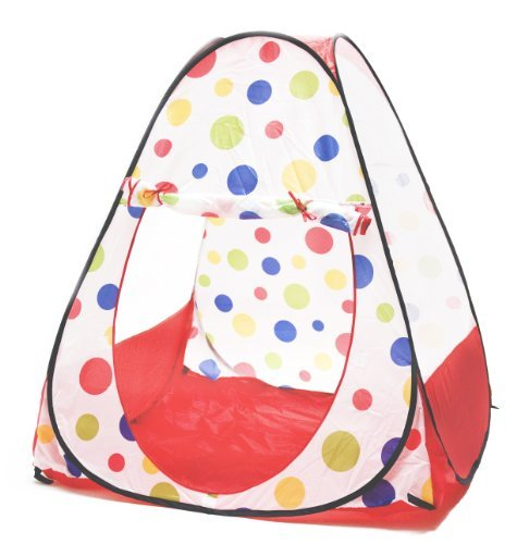 eWonderWorld Jumbo Red Polka Dot Teepee Twist Play Tent w/ Safety Meshing for Child Visibility & Tote Bag