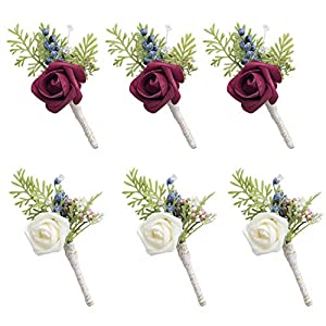 Ling's moment Set of 6 Groom Boutonniere for Wedding Party Flowers Accessories Prom Suit Decoration 41