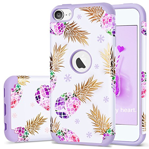 Silicon Video Case Ipod (iPod Touch 5 Case,iPod 6 Pineapple Case,Fingic Floral Ultra Slim Case Hard PC Soft Silicone Protective Case Cover for Apple iPod touch 5/6th Generation,Pineapple/Purple)
