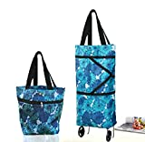 Collapsible Trolley Bags Folding Shopping Bag with Wheels Foldable Shopping Cart Reusable Shopping Bags Grocery Bags Shopping Trolley Bag on Wheels