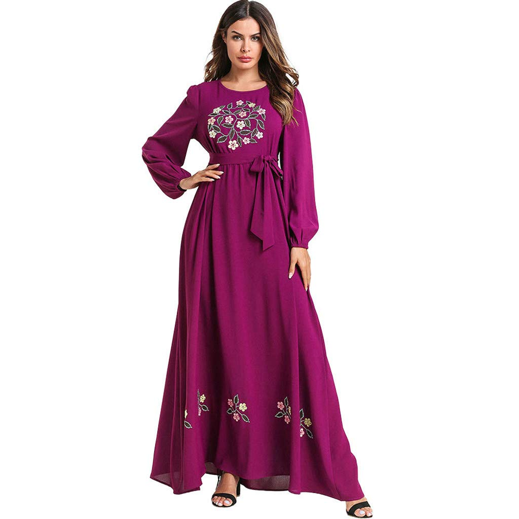 Women's Slim Ethnic Style Maxi Dress,Muslim Embroidered Long Sleeve O-neck Elegant Long Dress Retro Open Kaftan Abaya (XXXL, Purple) by PaJau