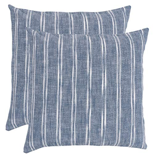 KAF Home Chateau Inverse Chambray Slub Stripe Decorative Pillow Cover 20 x 20-inch 100-Percent Cotton (Blue) Set of 2 (Chambray Pillows Throw)
