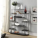 Open Shelf Designed Bookcase, Bookshelf, Attractive Black Wood Grain Laminate over Sturdy Particle Board, 6 Shelves, Open Storage Holds Books, Photos, Collectibles and More, Black, Wood, Metal
