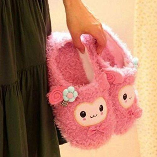 Ama (tm) Vrouwen Cute Cartoon Pluche Winter Warm Thuis Indoor Slippers Schoenen Roze