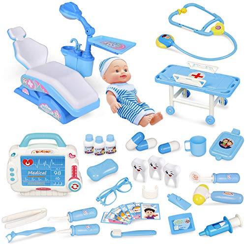 Kids Doctor Kit-33 Pieces, Pretend Play Dentist Medical Kit with Electronic Stethoscope and Dental Unit Chair for Kids Doctor Roleplay