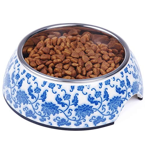 Raised Floral Porcelain - Super Design Dog Cat Bowls Melamine Stand Stainless Steel Bowls for Small Medium Large Dogs and Cats S Blue&White Porcelain Pattern