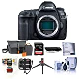 Canon EOS 5D Mark IV DSLR Camera Body USA Warranty - Bundle 32GB U3 SDHC Card, Holster Case, Table Top Tripod, Cleaning Kit, Memory Wallet, Screen Protector, Card Reader, Mac Software Package