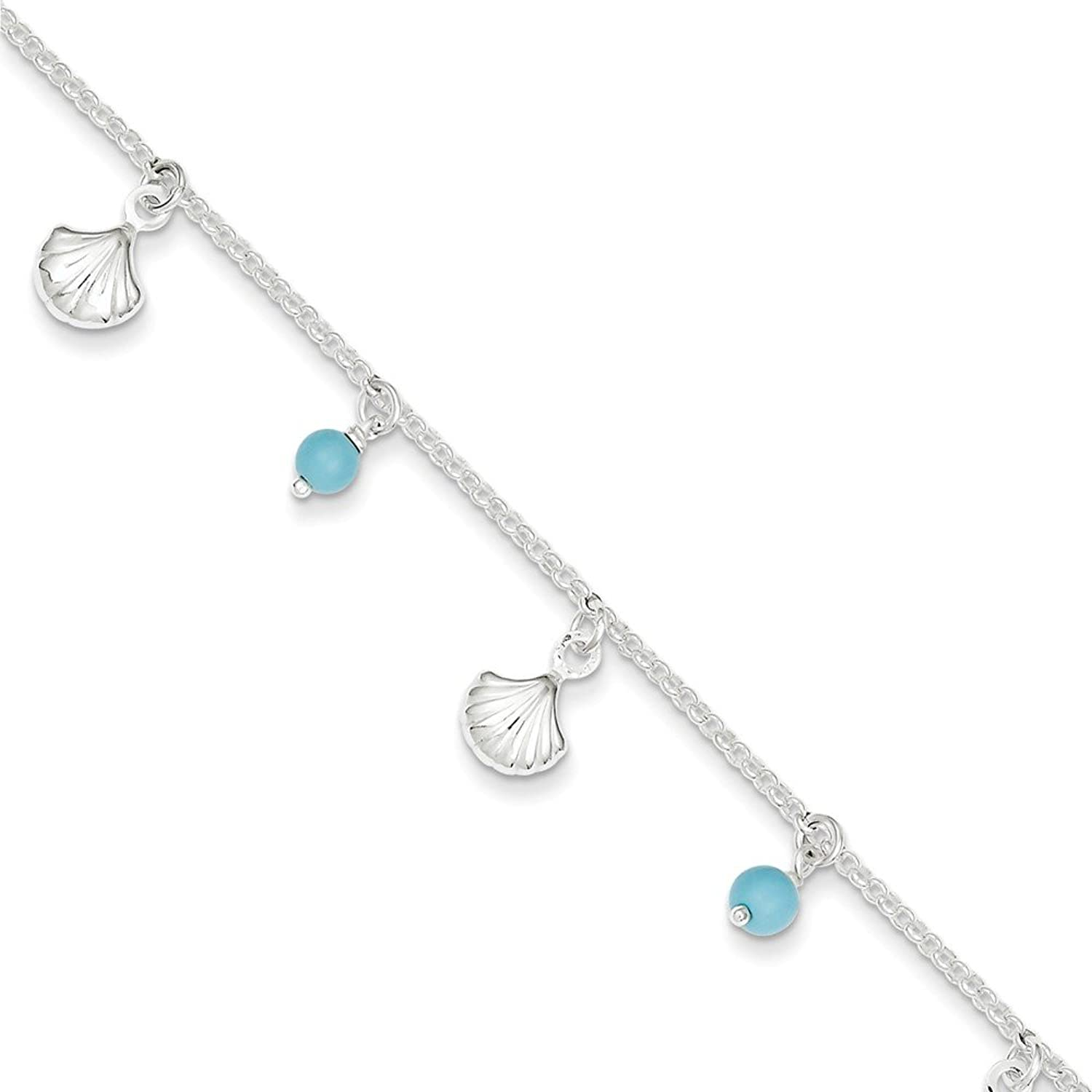 Roy Rose Jewelry Sterling Silver Polished Shell and Turquoise with 1-inch extension Anklet 9'' length