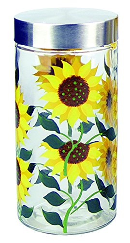 (Grant Howard Sunflower Hand Painted Glass Storage Jar, 75 oz, Multicolor )
