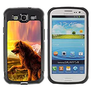 iKiki Tech / Estuche rígido - Wolf Dog Fairytale Art Nature Field View - Samsung Galaxy S3 I9300