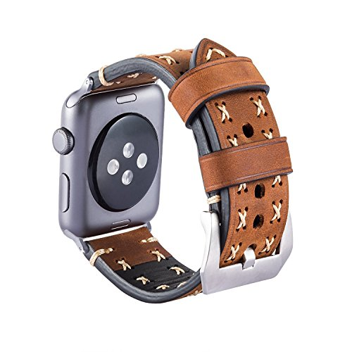 (CAILIN for Watch Band 38mm 42mm Handmade Genuine Leather Premium Vintage Replacement Watchbands with Stainless Steel Black Clasp for Watch Series 3 2 1 Sport and Edition (Brown1, 42mm))