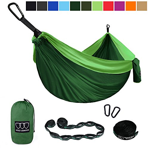Gold Armour Camping Hammock - Single Parachute Camping Hammock (2 Tree Straps 16 LOOPS/10 FT Included) Lightweight Nylon Portable Hammock, Best Parachute Single Hammock (Green/Green)