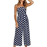 Ducarsel Women Sexy Spaghetti Strap High Waisted Jumpsuit Polka Dot Wide Leg Long Pants Palazzo Rompers with Belt