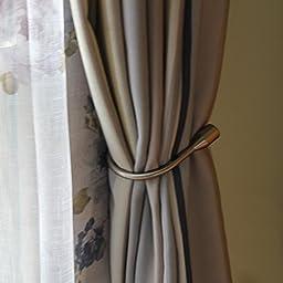 Yeexue Curtain Holdback U Arm Hook Metal Drape Tieback (One Pair, Bronze)