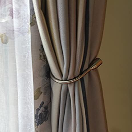 Yeexue Curtain Holdback U Arm Hook Metal Drape Tieback (One Pair, Brass)