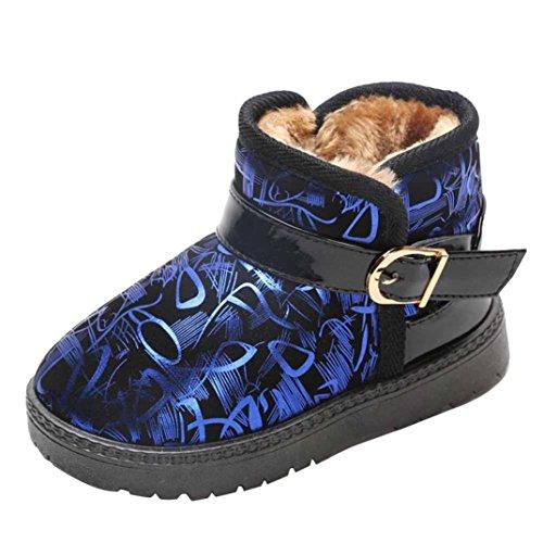 IGEMY Mode Jungen Mädchen Sneaker, Baby Dicke Casual Schneeschuhe Blau
