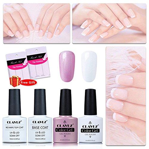 CLAVUZ Gel Nail Polish Pink White with Top and Base Coat Set UV LED DIY Nail Art ()
