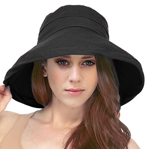 Simplicity Women's Cotton Summer Beach Sun Hat with Wide Fold-Up Brim Black ()