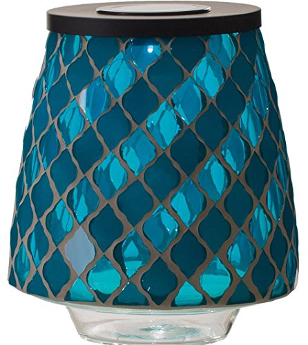 Transpac Imports, Inc. Blue Matte and Shine Moroccan Tile 9 inch Glass Solar Mosaic Hurricane Lamp by Transpac Imports, Inc.