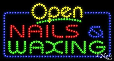 Nails & Waxingwith OPEN Animated Flashing LED Window Sign