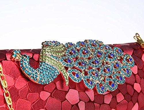 Whoinshop da donna, con brillantini, motivo: pavone, Evening Clutch Bag Rosso (rosso)