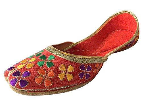 Step n Style Womens Bridal Shoes Khussa Shoe Salwar Juttis Jooti Flat Ethnic Sandals Orange Multi