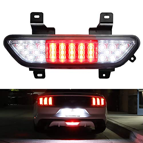 iJDMTOY Euro Spec Clear Lens Full LED Backup Reverse Light Assembly w/ F1 Style Rear Fog Light Feature For 2015-2019 Ford Mustang