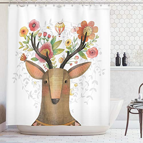 Ambesonne Antlers Decor Collection, Deer with Blossoms Bouquet Butterfly Hot Air Balloon Springtime Cartoon Art Print, Polyester Fabric Bathroom Shower Curtain, 75 Inches Long, Green Orange Pink