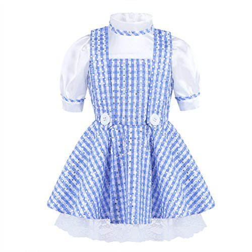 iEFiEL Kids Girls Faux Strap Polka Dots Plaid Halloween Costume Dressing up Party Dress Blue&White 5-6 -