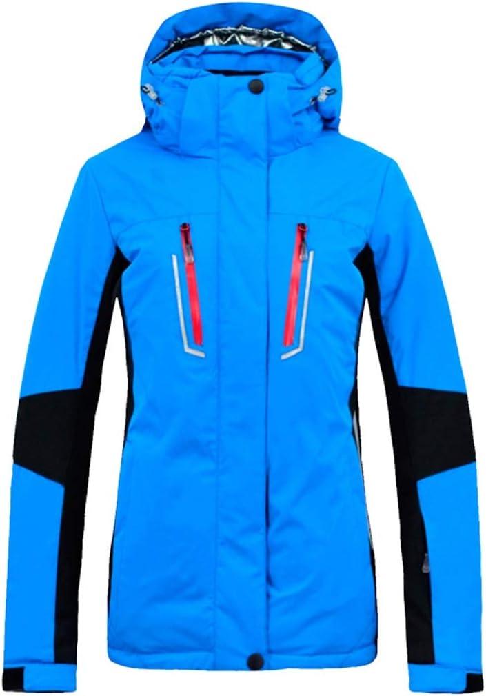 女性のスキージャケット防水 雨雪クラシックマウンテンウインドブレーカーフード付きレインコート用防水スキージャケット3-IN-1ウィンドブレーカー冬のコート暖かいインナーレディース レディース冬の雪のジャケットレインコート (色 : 青, サイズ : XL) 青 X-Large