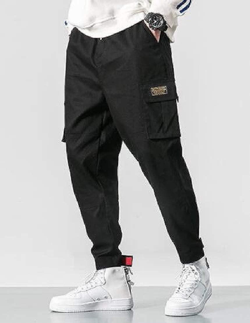Wofupowga Mens Big and Tall Cargo Harem Trousers Jogger Pants Black M